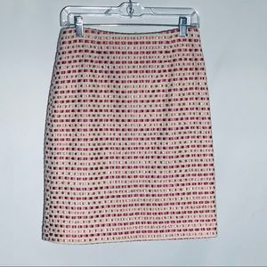 Nanette Lepore pink/cream woven pencil skirt, sz 6